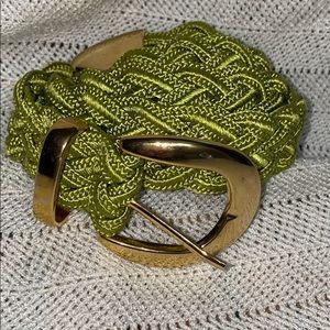 Fabric braided lime green belt